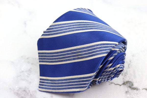 マタビシ 発売モデル (訳ありセール 格安) Mattabisch ブランド ネクタイ ゆうパケット 送料無料 ストライプ柄 中古 ブルー イタリア製 シルク