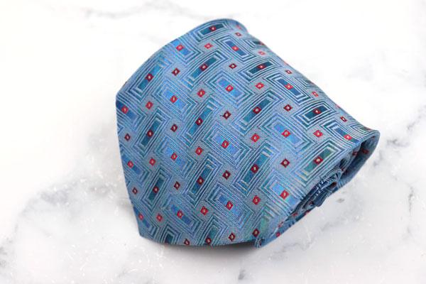 クリスチャンラクロワ Christian Lacroix ブランド 評価 ネクタイ ゆうパケット 送料無料 ブルー 伊製 シルク 総柄 中古 予約 良品