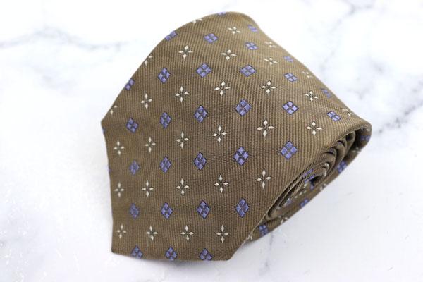 ヘンリーコットンズ 購入 Henry Cotton's イタリアスポーツブランド ブランド ネクタイ ゆうパケット 送料無料 日本製 予約販売 ブラウン 良品 ドット柄 中古 シルク スクエア