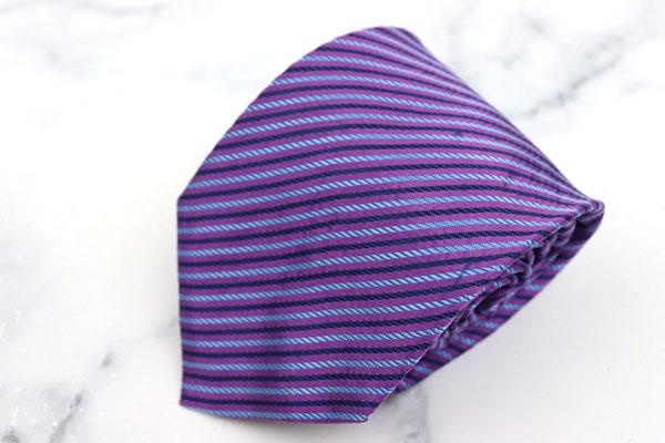 エンリコロッシーニ ENRICO ROSSINI ブランド ネクタイ 新商品!新型 ゆうパケット 送料無料 ストライプ柄 中古 パープル 豊富な品 シルク イタリア製 美品