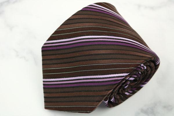 ニコル 捧呈 NICOLE ブランド ネクタイ ゆうパケット 送料無料 美品 中古 日本製 ストライプ柄 ブラウン シルク 新商品!新型