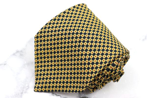 バリー 供え 特価 BALLY ブランド ネクタイ ゆうパケット 送料無料 ハンドメイド シルク 小紋柄 ベージュ 伊製 中古 良品