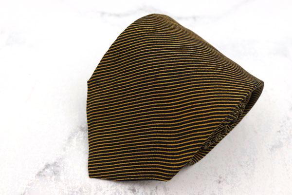 ブリオーニ Brioni 世界最高峰スーツブランド ブランド ネクタイ ゆうパケット 送料無料 シルク 購入 ストライプ柄 チェーン付き ブラウン 中古 美品 伊製 信用