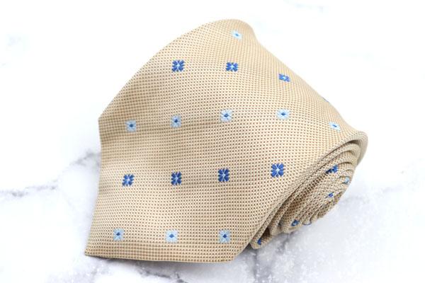 アルテア ALTEA ブランド ネクタイ ゆうパケット 送料無料 格子柄 イタリア製 中古 良品 ベージュ 花柄 人気激安 希少 シルク