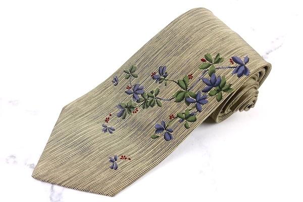 ドミニクフランス クラウン Dominique France Crown スリークラウン 仏製 シルク 刺繍 ベージュ シルク ブランド ネクタイ 送料無料 【中古】【新品未使用】