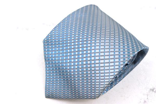 アルマーニ コレツィオーニ ARMANI COLLEZIONI 宅送 ブランド ネクタイ ゆうパケット シルク ブルー 中古 伊製 チェック柄 優先配送 良品 送料無料