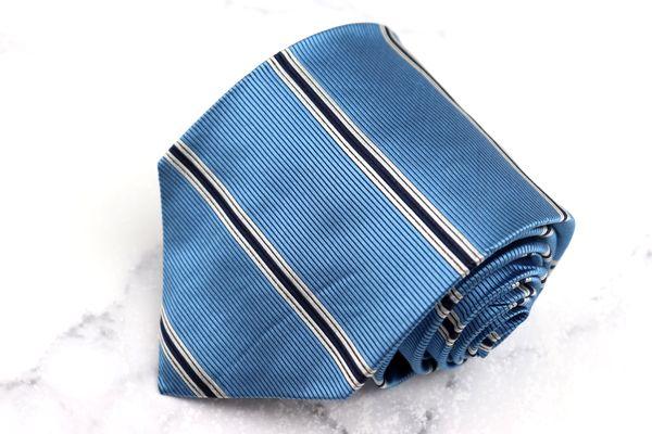 ヘンリーコットンズ Henry Cotton's ブランド ネクタイ 交換無料 ゆうパケット 春の新作続々 送料無料 中古 シルク ブルー イタリア製 良品 ボーダー柄