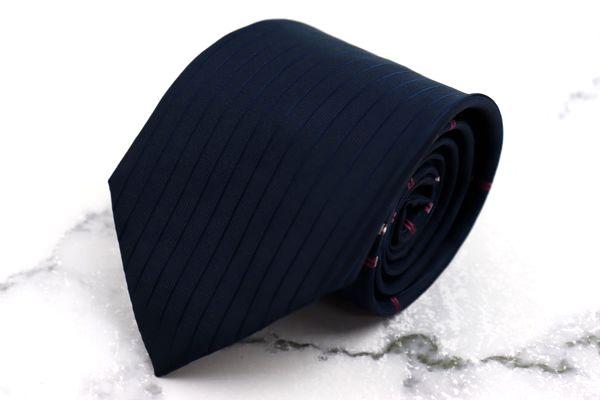 銀座田屋 GINZA TAYA ブランド ネクタイ お買い得品 ゆうパケット 送料無料 シルク ボーダー柄 縦ストライプ 良品 刺繍 中古 ネイビー 低価格