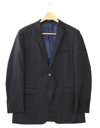 [美品] バーバリーブラックレーベル BURBERRY BLACK LABEL ストライプ テーラードジャケット Lサイズ相当 メンズ ウール ブラック ブランド古着 【中古】