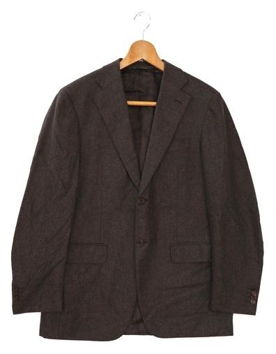 [美品] カナーリ CANALI イタリア高級スーツブランド 無地 テーラードジャケット Lサイズ相当 メンズ イタリア製 ブラウン ブランド古着 【中古】