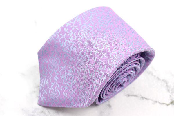 ホリデイアンドブラウン Holliday & Brown 刺繍 ハンドメイド 英国製 シルク 花柄 パープル シルク ブランド ネクタイ 送料無料 【中古】【美品】