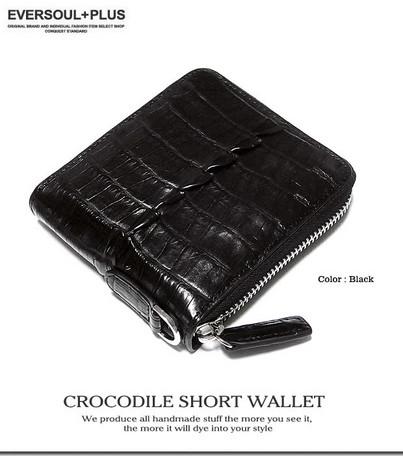 二つ折り財布 メンズ 小物 ワニ革 クロコレザー ラウンドジップ 二つ折り 財布 ウォレット 札入れ ビジネス ※fu