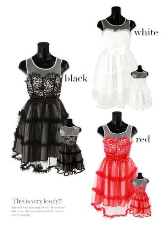 ドレス レディース ドールドレス ウエストリボン 切り替え 刺繍レース チュール フレア ミニドレス レディースファッション