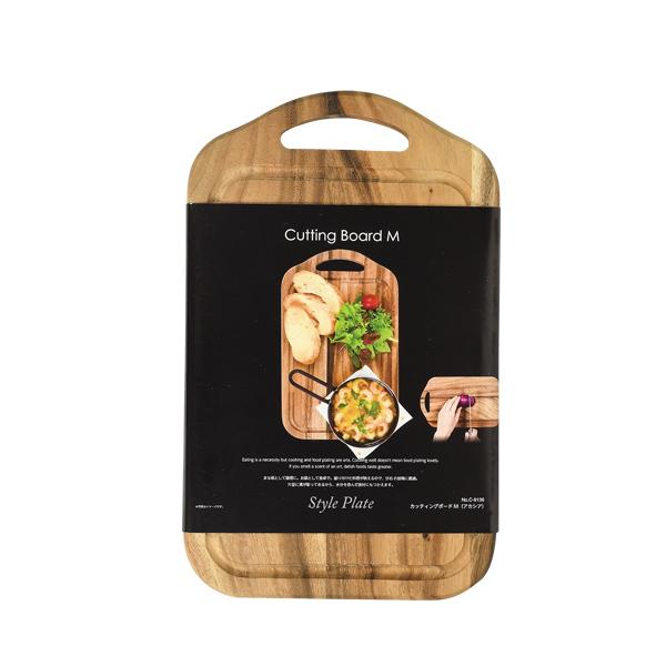 盛り付けた料理が映える SNS映え まな板 おしゃれ 木製 カッティングボード M アカシア スタイルプレート C-9136 パール金属