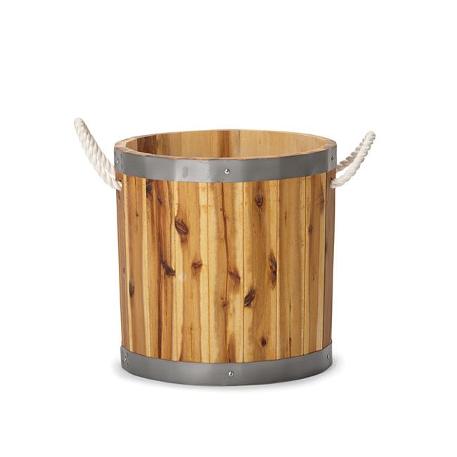 アカシアプランター シリンダー  40  ≪木製植木鉢/バレル/ウッドプランター/大型/樽≫
