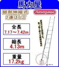 【代引・日時指定不可】ハセガワ(長谷川工業)脚部伸縮式2連はしご  【ノビ型】  LSK2 1.0-74