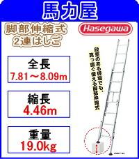 【代引・日時指定不可】ハセガワ(長谷川工業)脚部伸縮式2連はしご  【ノビ型】  LSK2 1.0-81