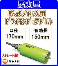 ミヤナガ 乾式ブロック用ドライモンドコアドリル170mm ストレート軸 [PCB170]