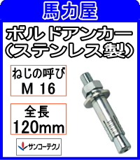 サンコーテクノ ボルトアンカーSBA-1612【20本入】 (ステンレス製)