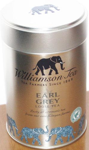 ケニアの高地6000フィートのカイモシ農園で栽培される茶葉に柑橘オイルをブレンド 爆安プライス ブラックティーとアロマのバランスが抜群 ウィリアムソン紅茶 100g缶アールグレイ 出色