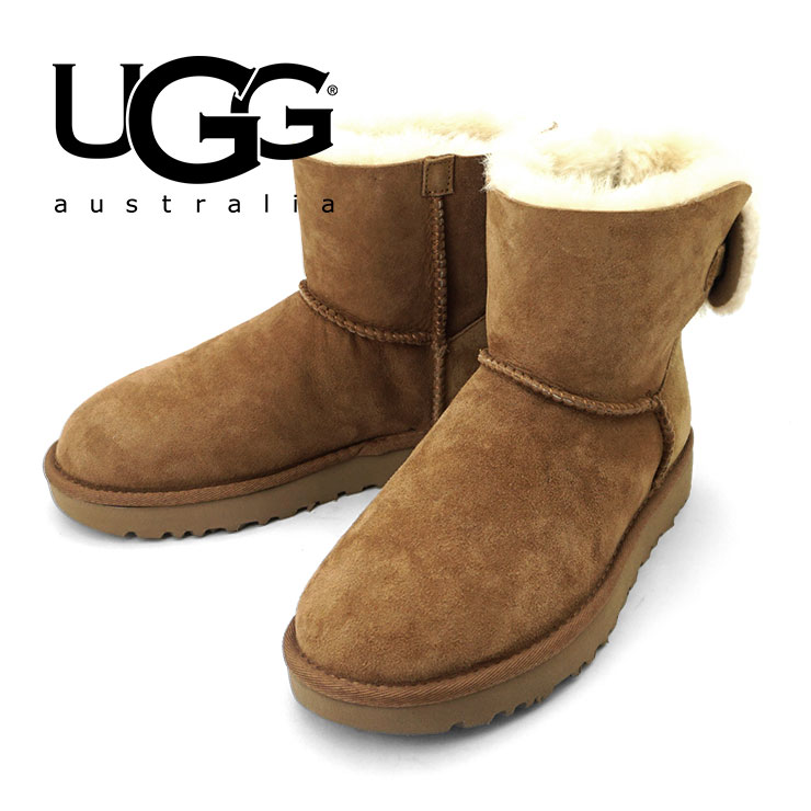 アグ オーストラリア UGG ムートンブーツ ウィメンズ アリエル ブラウン チェスナット レディース ムートン 靴 バック リボン ブーツ ショート ボア レザー 本革 女性 UGG AUSTRALIA ARIELLE CHE 1019625