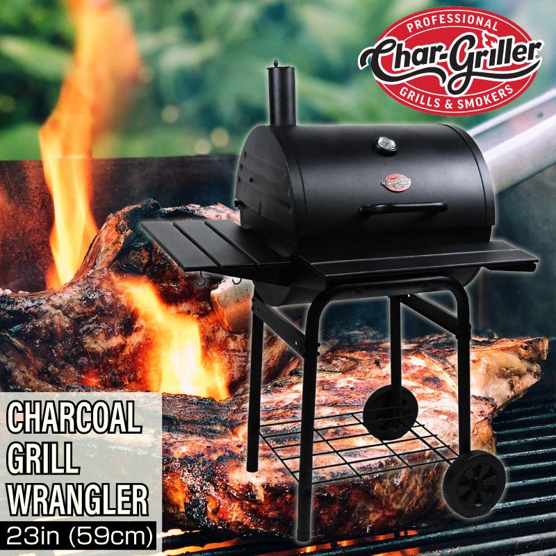 Char-Griller(チャーグリラー) バーベキューグリル ラングラー バレル型 チャコール 23インチ(59センチ)コンロ 大型 アメリカ BBQ スモーク スモーカー 燻製【あす楽対応】