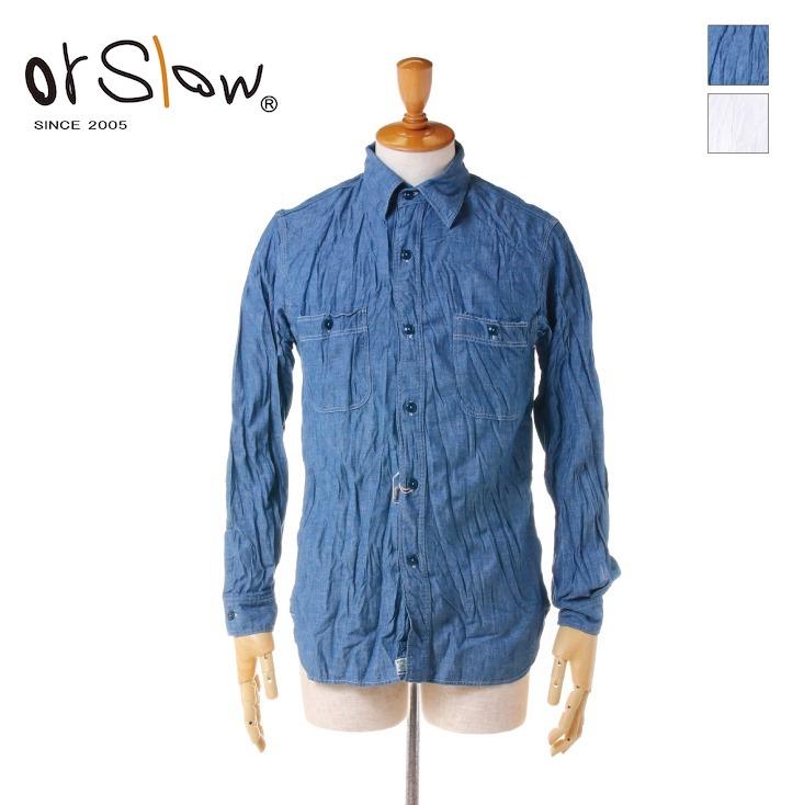 Orslow(オアスロウ) メンズ コットン シャンブレーシャツ 01-8070