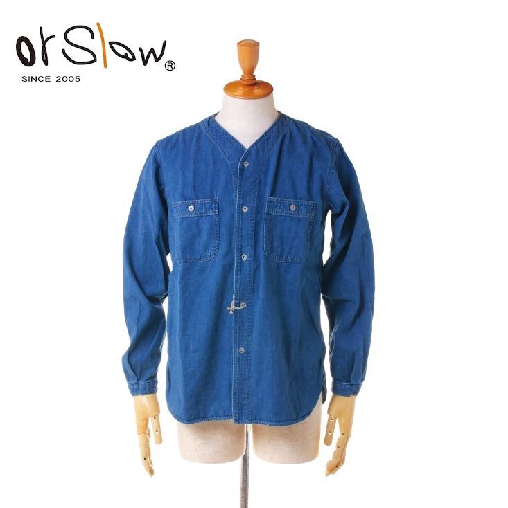 Orslow(オアスロウ) メンズ ノーカラー インナー デニム シャツ 01-8073