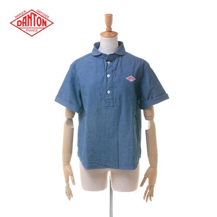 DANTON(ダントン) レディース シャンブレー ラウンドカラー 半袖 丸襟 ポケット付き プルオーバーシャツ #JD-3565 COC 日本正規代理店商品