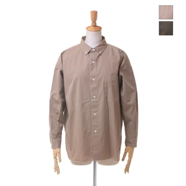 Gymphlex(ジムフレックス) レディース 無地 ソリッド コットンツイル 長袖 ボタンダウン ビッグシャツ J-1258 VTW