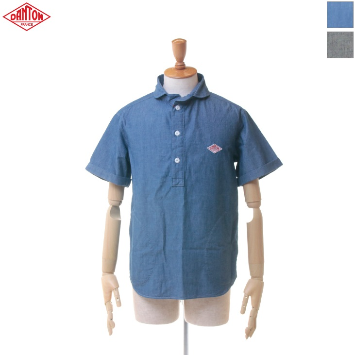 DANTON(ダントン) メンズ シャンブレー ラウンドカラー ポケット付き 丸襟 半袖 プルオーバーシャツ JD-3569 COC 日本正規代理店商品