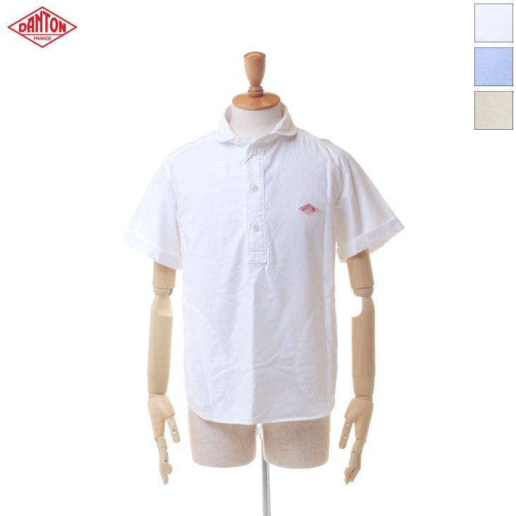 DANTON(ダントン) メンズ 無地 ソリッド オックスフォード ラウンドカラー ポケット付き 丸襟 半袖 プルオーバーシャツ JD-3569 YOX 日本正規代理店商品