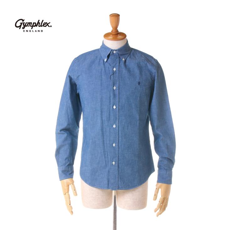 【期間限定 ★ 10%OFF + ポイント5倍】 Gymphlex(ジムフレックス) メンズ 長袖 シャンブレー ボタンダウンシャツ #J-0643 COD