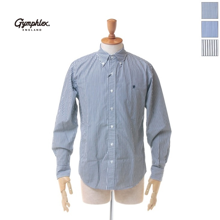 Gymphlex(ジムフレックス) メンズ ストライプ コットンブロード 長袖 ボタンダウンシャツ J-0643TSS