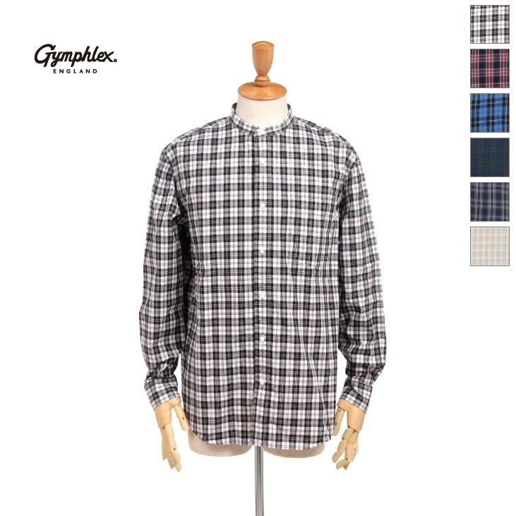 Gymphlex(ジムフレックス) メンズ タータンチェック 長袖 バンドカラーシャツ J-1352NBP 2020春夏/新作