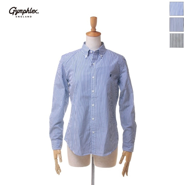 Gymphlex(ジムフレックス) レディース 長袖 ブロードストライプ ボタンダウンシャツ #J-0872 TSS 2019春夏/新作