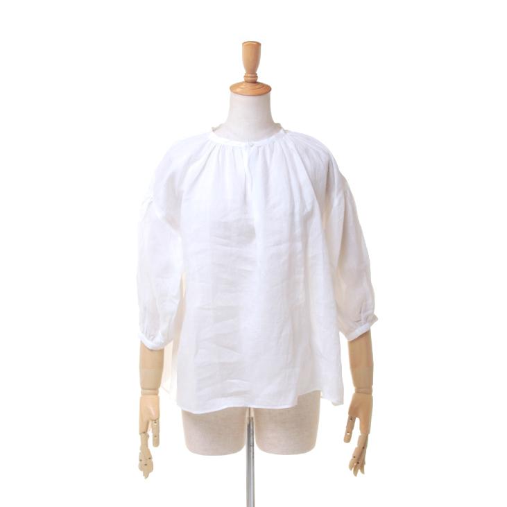 【期間限定 ★ 10%OFF + ポイント5倍】 Le glazik(ル グラジック) レディース 無地 ソリッド ラミー素材 ノーカラー スモックシャツ ギャザーネックシャツ JL-3656 RAM