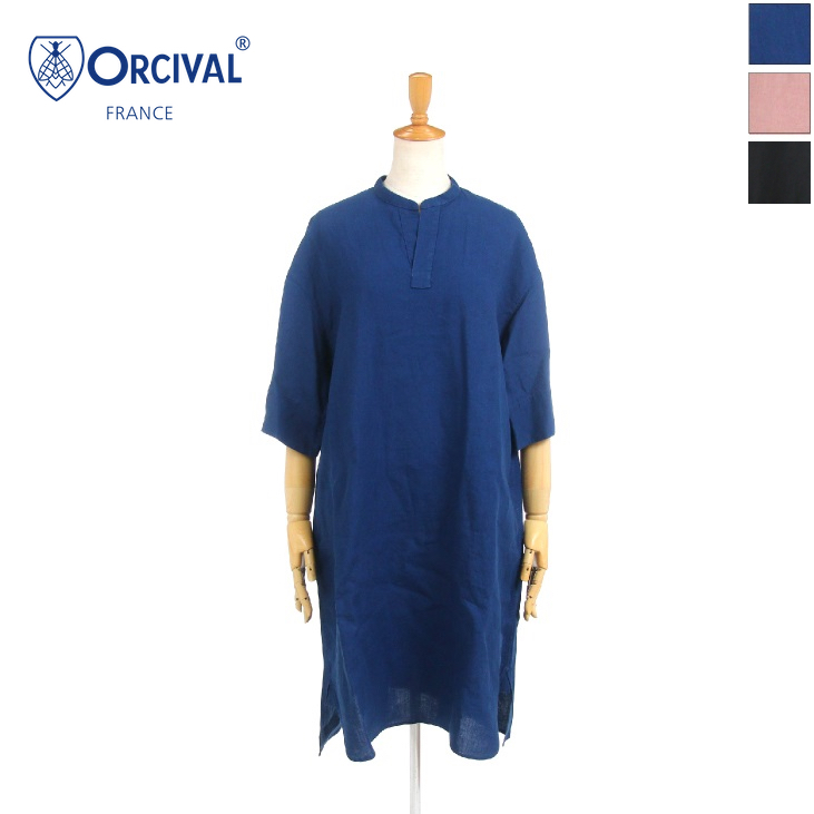 【30%OFF】ORCIVAL(オーチバル/オーシバル) レディース 無地 ソリッド リネン バンドカラー チュニック RC-3705YLM