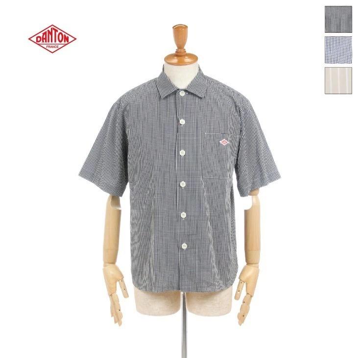 DANTON(ダントン) メンズ コットンポプリン チェック ストライプ 半袖ワークシャツ JD-3609MTP 2020春夏/新作 日本正規代理店商品