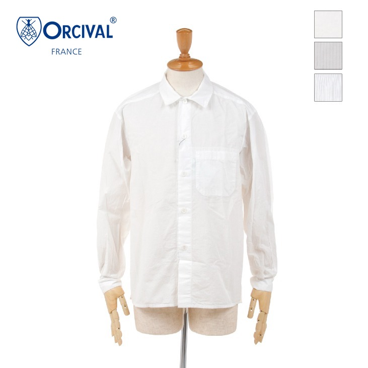 ORCIVAL(オーチバル/オーシバル) メンズ 無地 ソリッド コットンボイル ポケット オープンカラーシャツ COTTON VOILE RC-3756CNV 2020春夏/新作