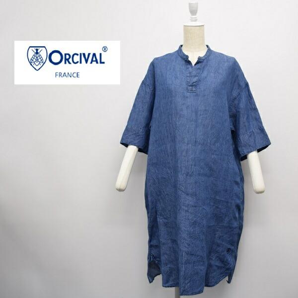 レディース/ORCIVAL  オーシバル オーチバル/   インディゴ スタンドカラー リネン デニム ワンピース /RC-3705YLD