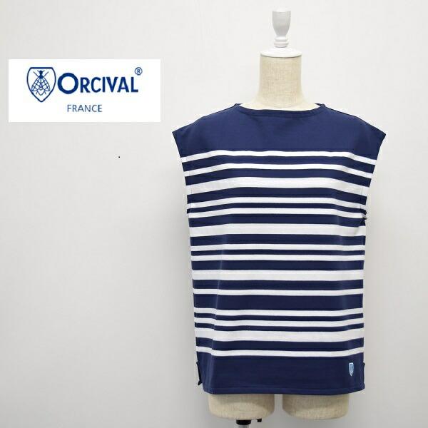 レディース/ORCIVAL  オーシバル オーチバル/ノースリーブ ボートネック ボーダー カットソー Tシャツ フランス製/6806-1952