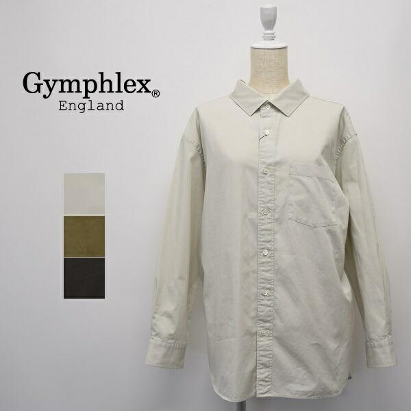 レディース/Gymphlex ジムフレックス/長袖 抜き衿 ビッグサイズ ワイド 無地 シャツ/J-1355VTW
