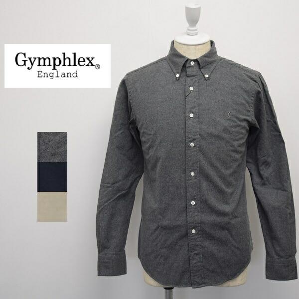 メンズ/Gymphlex ジムフレックス/長袖 ボタンダウン ネルシャツ ビエラシャツ 起毛 無地/J-0643BSD
