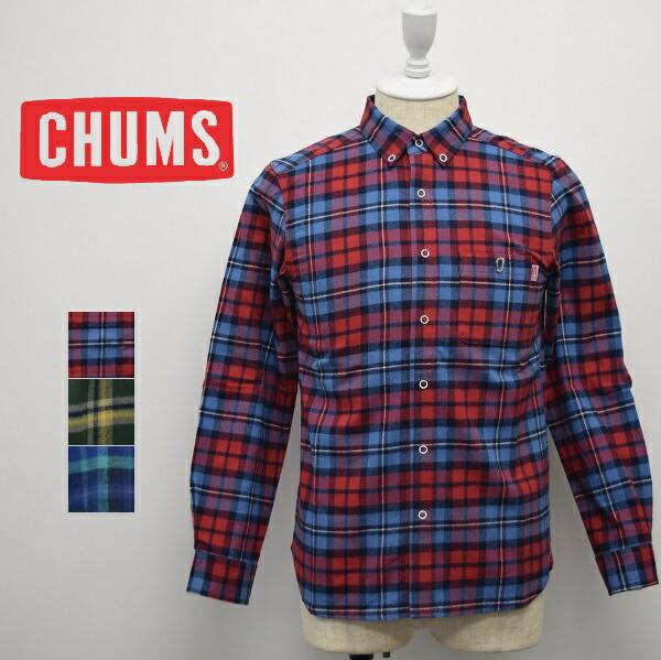 メンズ/CHUMS チャムス/長袖 スナップボタン チェック ネルシャツ/CH02-1123