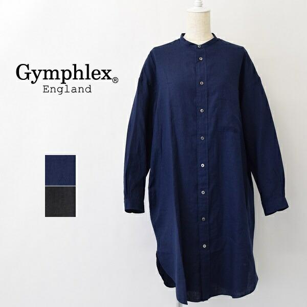 レディース/Gymphlex ジムフレックス/長袖 スタンドカラー リネン シャツ ワンピース/J-1363KLS