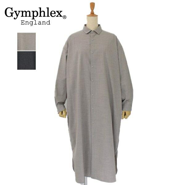 在庫処分 レディース Gymphlex ジムフレックス 長袖 シャツワンピース オーバーサイズシャツ GY-G0005TWR 安売り 羽織 無地