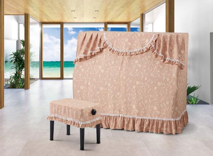 アルプス アップライトピアノ用オールカバー A-RU ローズピンク系花柄 ジャガードタイプ ピアノカバー