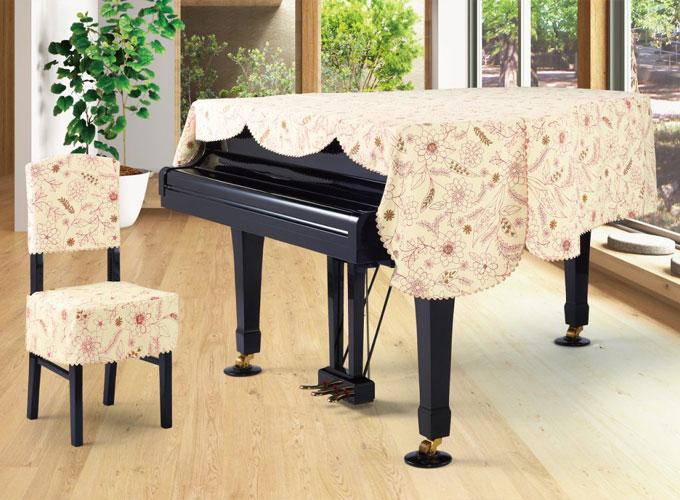 アルプス グランドピアノカバー G-KU アイボリー系線画タッチ花柄 プリントタイプ ピアノカバー