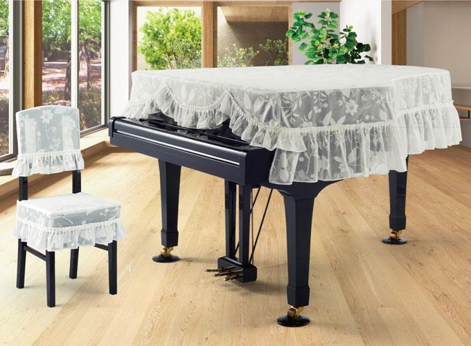 アルプス グランドピアノカバー G-LAN ホワイト系花柄 ジャガードレースタイプ ピアノカバー